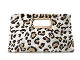 Fur Clutch Handbags Cut It Out Metal Handle Evening Bag (Leopard print)