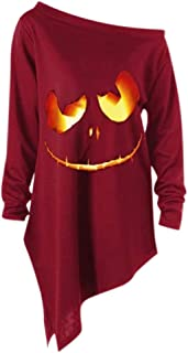 TIFENNY Women Halloween Long Sleeve Tops Skew Collar Tees Hot Style Pullover Off Shoulder Shirt Musical Note Pattern Blouse