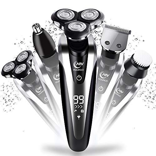 Afeitadora Eléctrica Rotativa para Hombre, 5 en 1 Máquina de Afeitar Impermeable Recargable con LCD Display para Hombre Recortadora Barba Nariz, Máquina Afeitar Barba Uso en Húmedo y Seco