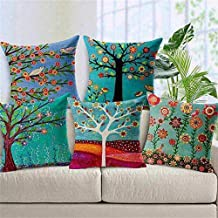 "Innovative Edge Floral 5 Piece Jute Cushion Cover Set - 16""x16"", Ivory"