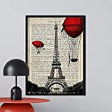 Nacnic Lámina para enmarcar Paris, Torre Eiffel. Láminas Decorativas para Pared. Papel 250 Gramos