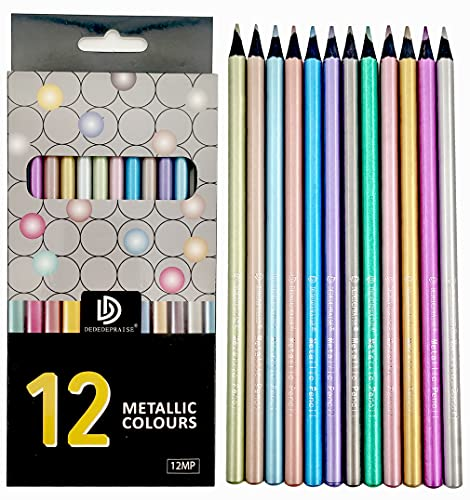 12 Metallic Colour Pencils Set-Colored Pencil Set for Fine Adults Artists...