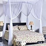 Girls'love talk Mosquitera para cama con alzapaños magnéticos, 4 entradas, agujeros finos, red antimosquitos de viaje, rectangular, mosquitera para cama doble y individual (color blanco)