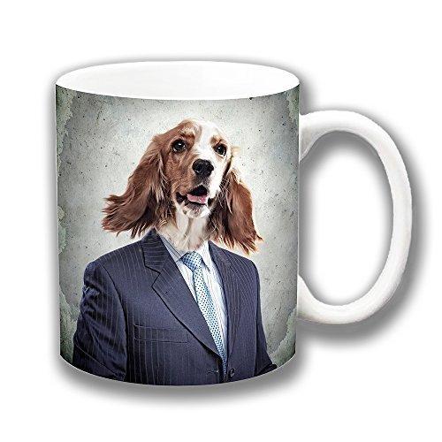 Drôle Brown White Spaniel Chien Cartoon tragend Multi Céramique de combinaison de thé Tasse à café cadeau unique idée