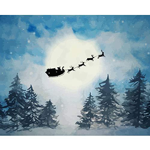 DIY olieverfschilderij tekening met penselen verf, verf op nummer kit voor volwassenen decoratie-Santa met slee en rendier Silhouette 40X50Cm/15.80X 19.70 Inch
