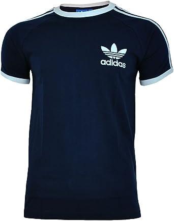adidas Originals T Shirt California Tee Sport Essential 3 Stripe Trefoil Tee Black Red White S-XL New (Navy, Small)