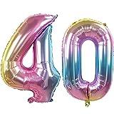 Ouinne Globo 40 Años, 32 Pulgadas Globo del Cumpleaños Número 40 Helio Globos para La Decoración Boda Aniversario (Rainbow)
