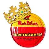 Surströmming Party-Set Röda Ulven 300g Dose (fermentierte Heringe) - 400g/300g Fisch   inkl. Challenge Vorlage   inkl. exklusiver Krone   (Challenge Hering)