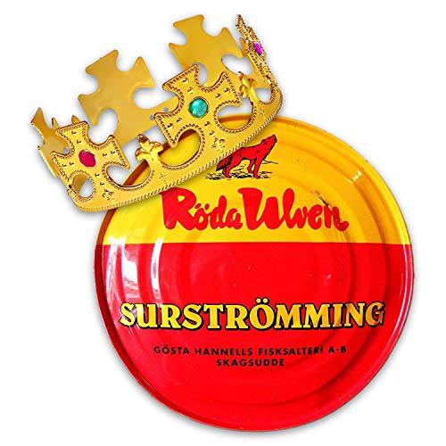 Surströmming Party-Set Röda Ulven 300g Dose (fermentierte Heringe) - 400g/300g Fisch | inkl. Challenge Vorlage | inkl. exklusiver Krone | (Challenge Hering)