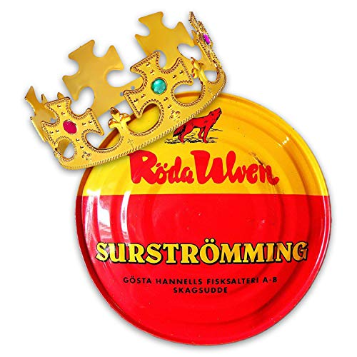 Surströmming Party-Set Röda Ulven 300g Dose (fermentierte Heringe) - 400g/300g Fisch | inkl. Challenge Vorlage | inkl. exklusiver Krone |