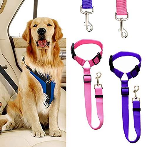 ペットシートベルト ペット 犬猫 2本セット ドライブ 安全ベルト 車専用リード 飛びつく防止 長さ調整可能 取付 簡単 両用 小型犬用 ブルー ピンク