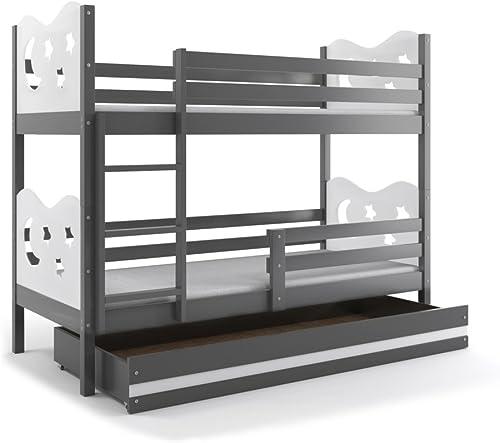 Etagenbett MIKO 160x80cm Farbe  Grau, mit Matratzen und Lattenrost (Weiß)