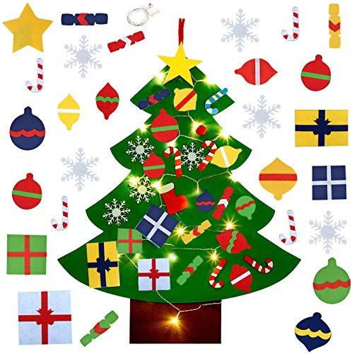 Fieltro Árbol de Navidad,El árbol de Navidad del Fieltro,Árbol de Navidad DIY con 28pcs Ornamentos Desmontables,Decoración de Navidad para Paredes y Puertas del hogar(Con cadena de luz LED) (B)