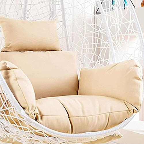 Sedia a dondolo da giardino in rattan, sedia a dondolo per uova, sedia a dondolo, per patio, con cuscino (sedia con cuscini beige)