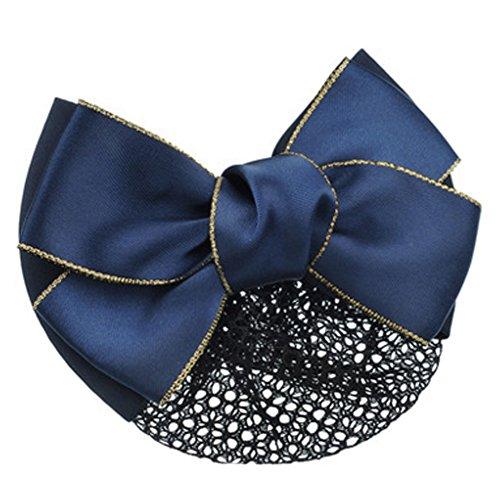 Barrette Nœud Papillon pour Femme Snood Net Coiffure Hair Bun Cover, Bleu
