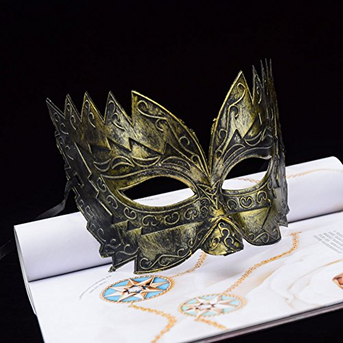 Máscara veneciana romana griega, máscara de máscara, disfraz de Halloween, bola para fiesta, estilo retro, suministros de decoración Golden