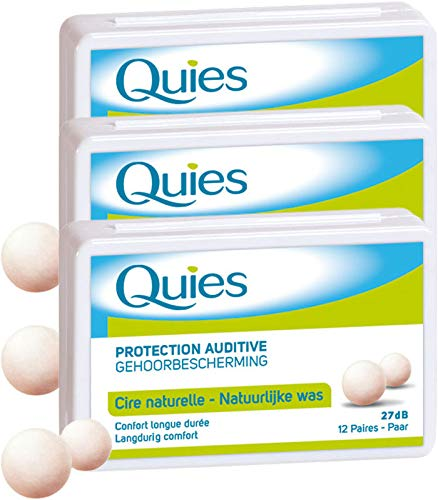 Quies - Boules Quies de Protection Auditive à la Cire Naturelle - Lot de 3 Boites de 24 Boules (3)