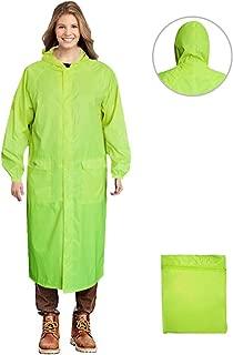 Long Rain Coat for Men Women Waterproof Poncho Jacket with Hood Portable Packable (Large, Fluorescent)