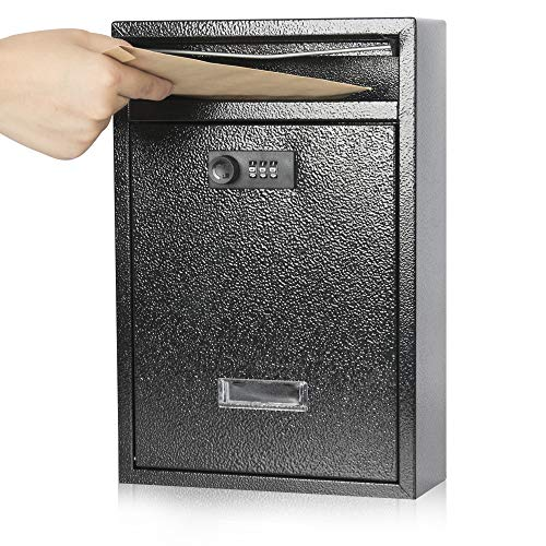 Kyodoled Locking Wall Mount Mailbox,Mail Boxes Outdoor with Combination Lock,Security Key Drop Box,12.59Hx 8.46Lx 3.35W Inches,Black Large