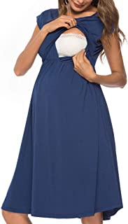 Iusun Women's Maternity Dress Hollow Lactation Short Sleeve Mother Skirt Sundress Nursing Breastfeeding Pregnants for Summer Daily Vacation Holiday