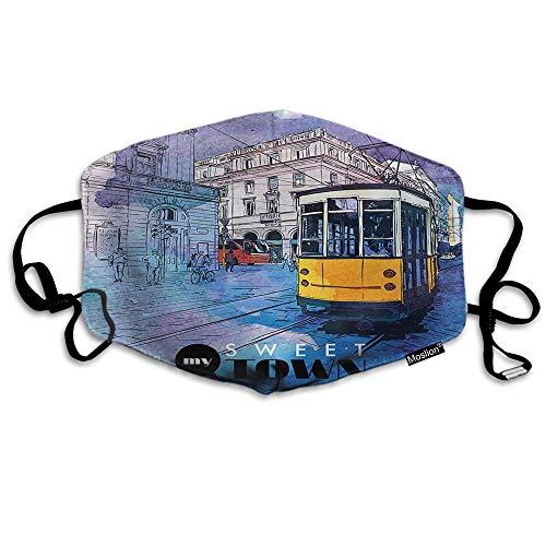 F Bus Masker Aquarel Borstel Vintage Stad Tramway Trein Spatel In Parijs Straat Mond Masker Unisex Maskers Herbruikbare Wasbaar Polyester Anti-Stof Masker voor Mannen Vrouwen Buiten