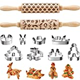 2 Pieces Christmas Wooden Rolling Pins 3D Engraved Embossing Christmas Snowflake Pattern Rolling Pin with 8 Pieces Cookie Cutters for Kitchen Tool Baking Embossed Cookies