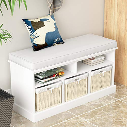soges Storage Bench with 3 baskets with cushion and storage baskets,Hallway Bench,Shoe Bench,Seat Cabinet,Organiser,Storage Drawers,White,SYS1001-W-A