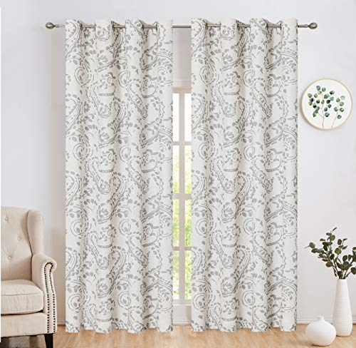 "Ronaldecor Linen Window Treatment Sets Grommet Top Paisley Curtain Panels Traditional Style Floral Print Vintage Damask Drapes for Bedroom, 2 Panels, 52"" x 84"", Grey"