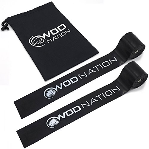 WOD Nation Muscle Floss Bands Recovery Band for Tack and Flossing Sore Muscles and Increasing Mobility - Stretch Band Includes Carrying Case (2 Black - Medium Strength)