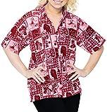LA LEELA Novio Cuello de la Camisa Blusas Hawaiano Bebe Casual Manga Corta de Blood Rojo_X366