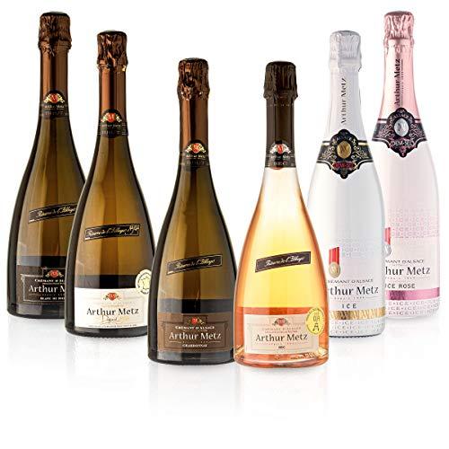 Feinste Weine - 6 er Arthur Metz Crémant Probierpaket brut/demi sec - Crémant d' Alsace - Sektpaket aus Frankreich, Elsass, Paket mit:6 Flaschen