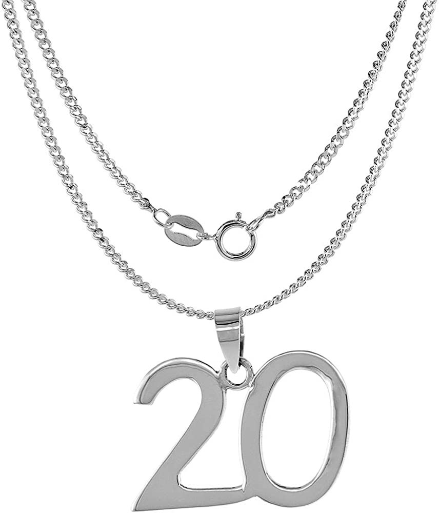 Sterling Silver Number 20 Necklace for Surprise price Classic Jersey Recovery Numbers