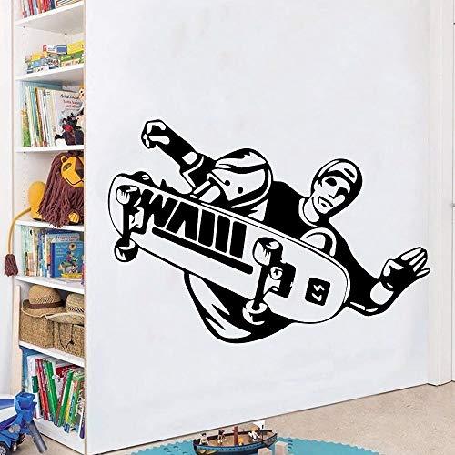hetingyue Kreative Skateboard Selbstklebende Vinyltapete Jungen Schlafzimmer Aufkleber Vinyl Kunst Aufkleber Wohnzimmer Wanddekoration Aufkleber 42x60cm