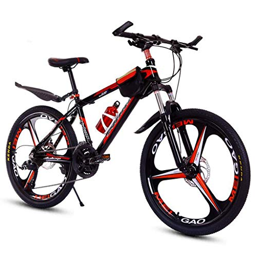 26inch Mountain Bike,Aluminium Alloy Frame,Mag Wheel,Double Disc Brake and Front Suspension,24 Speed (Color : Black+Red)