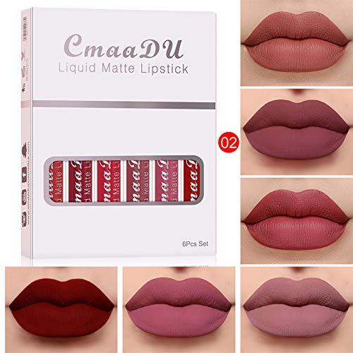 18 Farben Lipgloss 6-teiliges Box-Set Matt Wasserdicht Langlebiger Lippenstift (B)