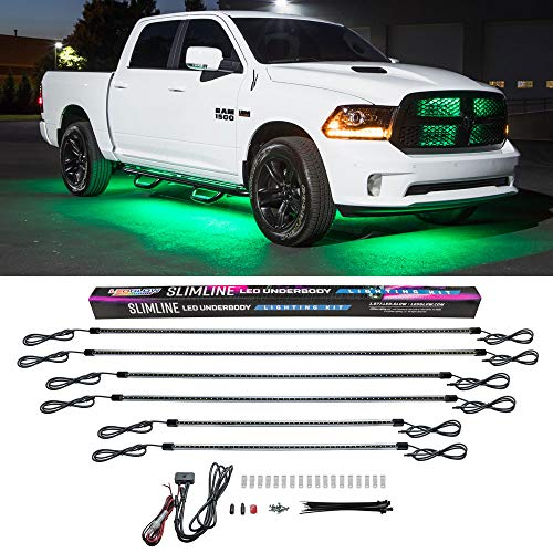 LEDGlow 6pc Green Truck Slimline LED Underbody Underglow Accent Neon Lighting Kit - Solid Color Illumination - Water Resistant, Low Profile Tubes - Included Power Switch Turns Lights On & Off