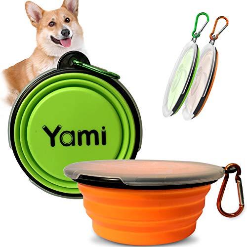YAMI 2er Pack Faltbare Hundenäpfe, Silikon-Hundekatzen-Futterwasser und Futternäpfe mit Deckel und Karabiner für unterwegs; Camping; Gehen (Grün&Orange)