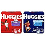 Huggies Day/Night Bundle- Little Movers Baby Diapers, Size 4, 144 Ct, One Month Supply & Overnites Nighttime Diapers, Size 4, 68 Ct (Packaging May Vary)