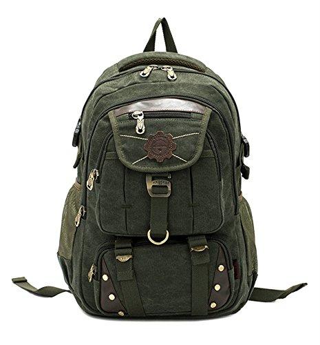 "DRF Vintage Canvas Backpack Tactical Military Style 15.6"" Laptop School Bag Rucksack BG-77 (Green)"