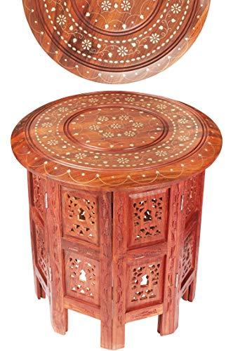 Marokkaanse tafel bijzettafel van hout Caglanur Brown ø 38 cm groot rond | Oosterse ronde kruk bloemenkruk oosters klein | Oosterse ronde kleine bijzettafels inklapbaar
