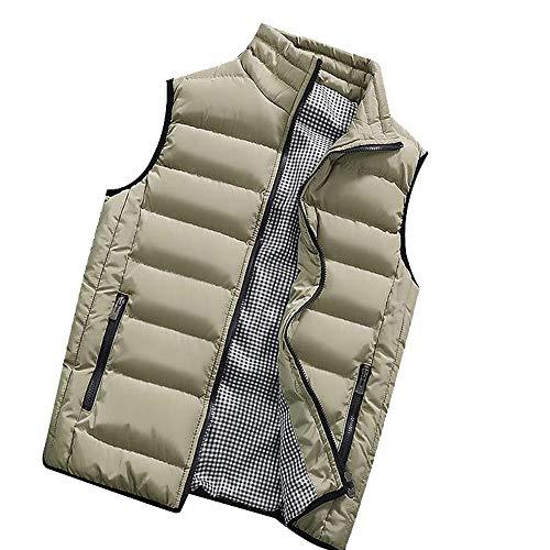 KEERADS HOMME Veste Gilet Casual Chaud Doudoune Vest sans Manche Manteau Blouson Zipper Automne Hiver(FR-54/XL,Kaki)
