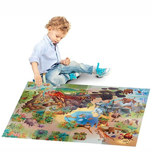 HOK - Nappe Pour Jouer - Dinosaures Multicolore - 100 X 140 cm - Made in Europe