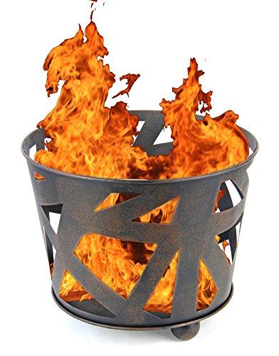 Nick and Ben Design Stahl Feuer-Korb XL 40cm schwarz Garten-Kamin Pflanz-Schale Terrassen-Ofen Feuer-Stelle Feuer-Schale Terrassenfeuer