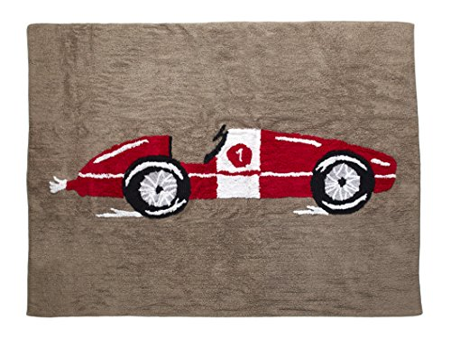 Alfombra Infantil lavable en lavadora Colección Coche de carreras Rojo 120x160 cms