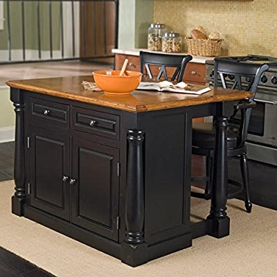 Monarch Black/Distressed Oak Kitchen Island with 2 Stools by Home Styles by Home Styles