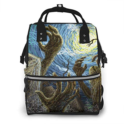 JUKIL Diaper Backpack Halloween Painted Wallpaper Diaper Bag Backpack Multifunction Travel Back Pack Maternity Baby Nappy Changing Bags
