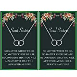Soul Sister Necklace,BFF Necklace for 2,Two Interlocking Infinity Double Circle Necklace Sister...