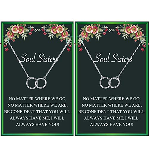 Soul Sister Necklace,BFF Necklace for 2,Two Interlocking Infinity Double...