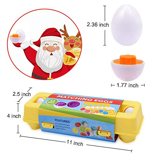 CPSYUB Toddler Toys, 18 Month Toys, Easter Eggs Gifts Fine Motor Skills Toys for 1, 2, 3, 4 Year Old Girls Boys, Montessori Educational Color Shape Recognition Skills Learning Toys BPA Free (12 Eggs)