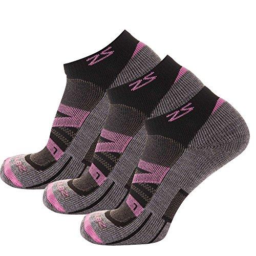 Zensah Wool Running Socks, Pink - 3 Pack, Small (Men's 4-6, Women's 5-8)